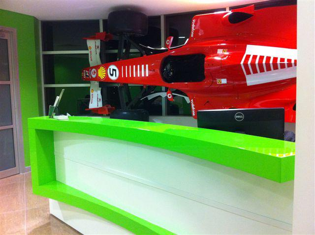 Commercial Office reception counter racecar