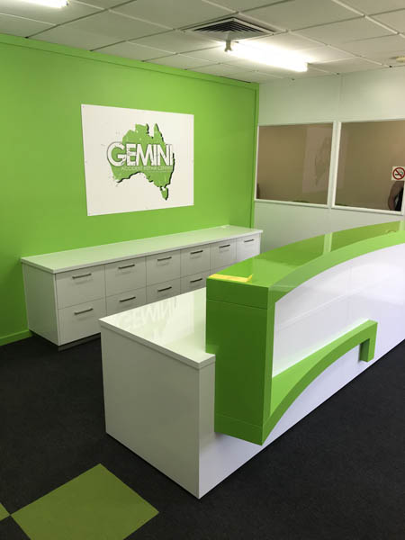 Commercial Office reception counter Green Gemini